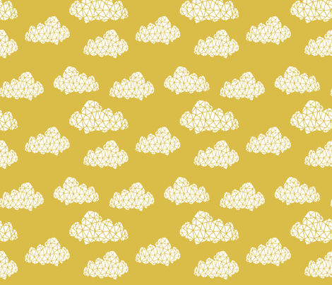 Geo clouds mustard yellow gender neutral geo hand drawn for Yellow nursery fabric