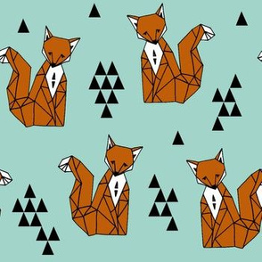 fox // trendy triangles fox aqua turquoise blue fox print for kids fabric by andrea lauren