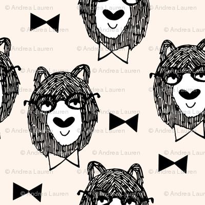 bowtie bear // cream bowtie bear fabric nursery design andrea lauren fabrics