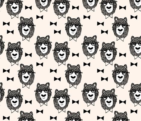 bowtie bear // cream bowtie bear fabric nursery design andrea lauren fabrics  fabric by andrea_lauren on Spoonflower - custom fabric