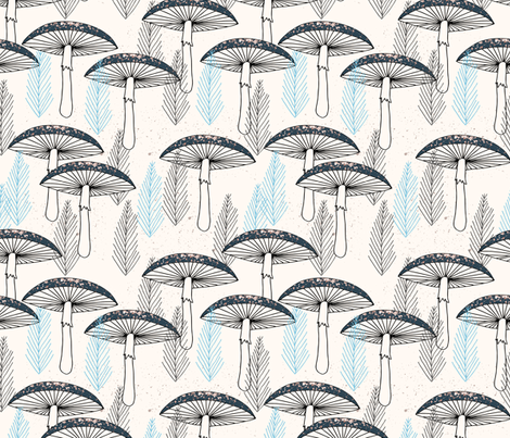 Fungus Forest - Cream/Soft Blue/Navy fabric by andrea_lauren on Spoonflower - custom fabric