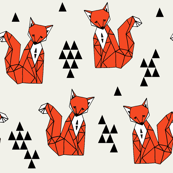 fox // red triangle kids autumn trendy geo geometric fox fabric by andrea lauren