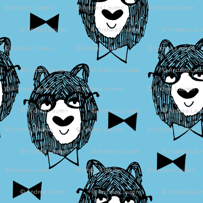 bowtie bear // blue nursery fabric bears fabric andrea lauren design