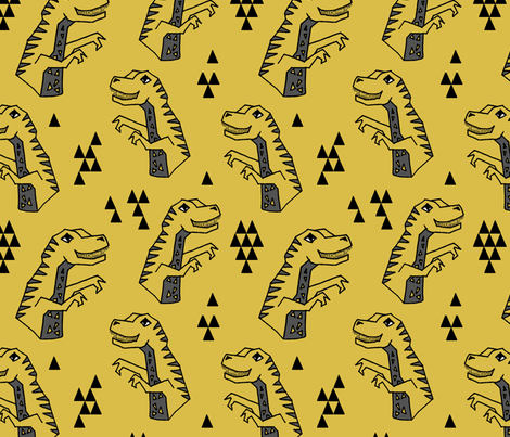 "dinosaurs // dinos dino dinosaurs yellow kids baby xlarge 5"" tall fabric by andrea_lauren on Spoonflower - custom fabric"