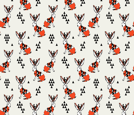 Geometric Jackalope - Champagne/Vermillion fabric by andrea_lauren on Spoonflower - custom fabric