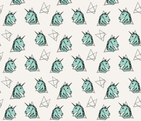 geo unicorn// 80s rad mint unicorn edgy trendy cool unicorn  fabric by andrea_lauren on Spoonflower - custom fabric