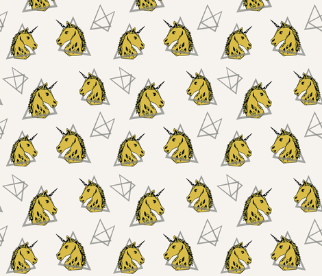 geo unicorn // mustard unicorn 80s trendy cool kids cute rad unicorn fabric by andrea_lauren on Spoonflower - custom fabric