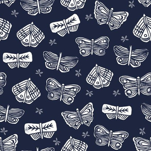 Butterflies Mixed - Imperial Blue/White by Andrea Lauren