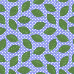 Leaves and dots on periwinkle (Melody's Zinnias)