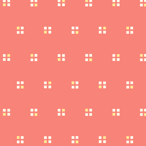 windows on the 1980s salmon coral fabric by georgeandgracie on Spoonflower - custom fabric