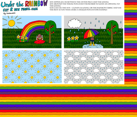 Under the Rainbow pencil case fabric by celebrindal on Spoonflower - custom fabric