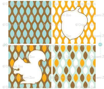 Squirrel and acorn throw pillows