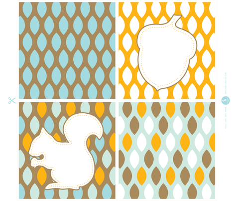 Squirrel and acorn throw pillows fabric by origamizoo on Spoonflower - custom fabric