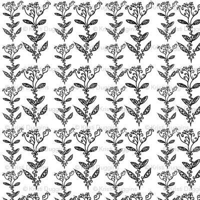 Black and White Floral Ivy Vines