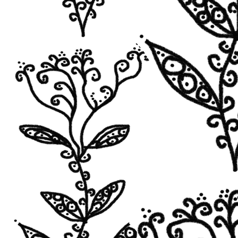 Black and White Floral Ivy Vines fabric by bohobear on Spoonflower - custom fabric