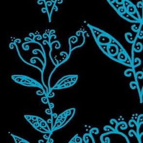 Aqua Floral Ivy Vines on Black
