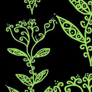 Green Floral Ivy Vines on Black