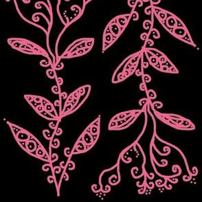 Light Baby Pink Floral Ivy Vines on Black