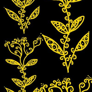 Golden Yellow Floral Ivy Vines on Black