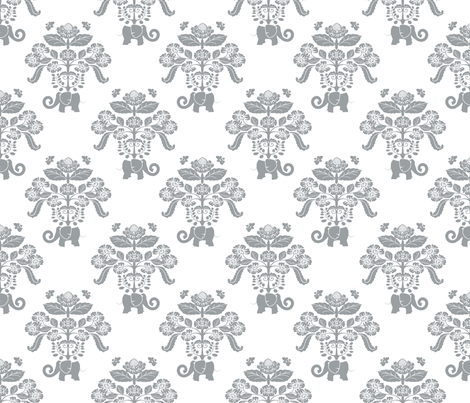 Elephants in My Garden Damask Gray & White fabric by shellypenko on Spoonflower - custom fabric