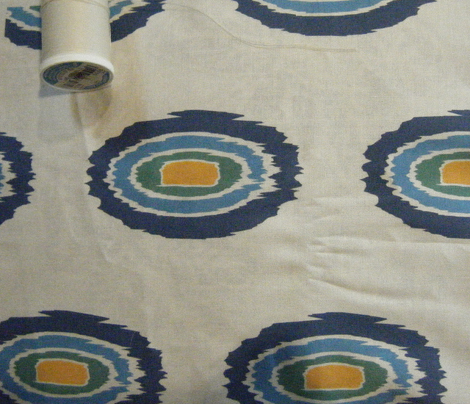 Ikat Oval - Blues and Yellow