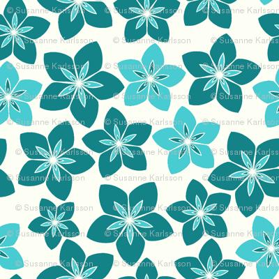 blue retro flowers