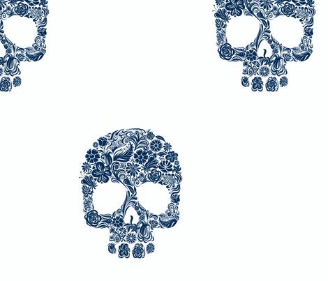 dia de los muertos navy blue fabric by socially_unacceptable_shop on Spoonflower - custom fabric
