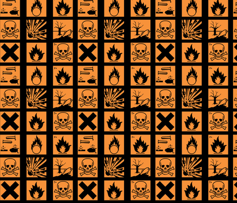 Hazard symbols (old) colour fabric by amysworlds on Spoonflower - custom fabric