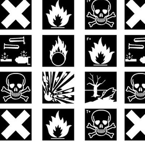Hazard symbols (old) B&W