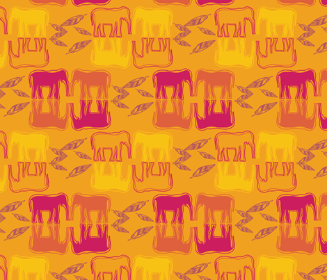 indiansummer_elephantes_sunset-04 fabric by luhaddad on Spoonflower - custom fabric