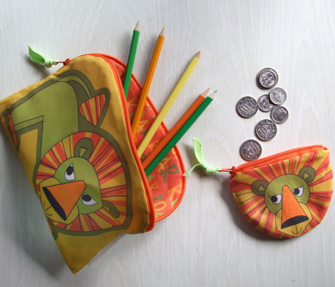 Ellie pencil case and coin purse (with her jungle friends on a yard)