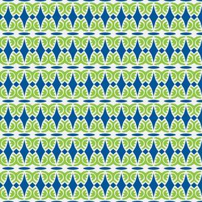 Diamonds and Swirls Navy/green /White