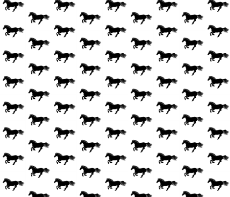 Black Pony on White, Basic fabric by thistleandfox on Spoonflower - custom fabric