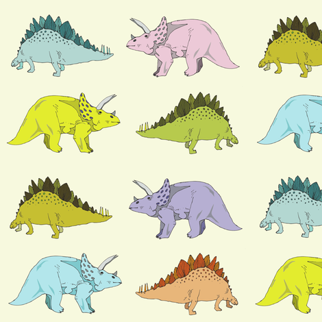 stegosaurus & triceratops (smaller) fabric by lorose on Spoonflower - custom fabric