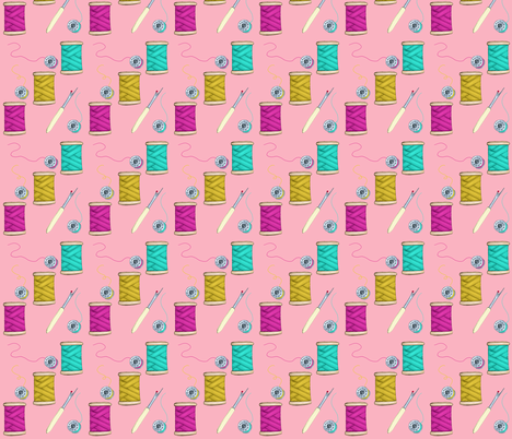 Threads and Bobbins, Pink fabric by thistleandfox on Spoonflower - custom fabric