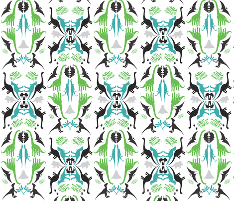 Dinosaur Damask fabric by katrina_griffis on Spoonflower - custom fabric