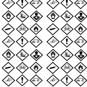 Hazard symbols (new) b&w