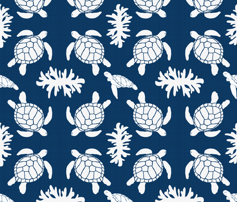 Sea Turtles on Blue Linen Texture fabric by shellypenko on Spoonflower - custom fabric