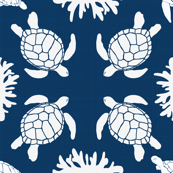 Sea Turtles on Blue Linen Texture