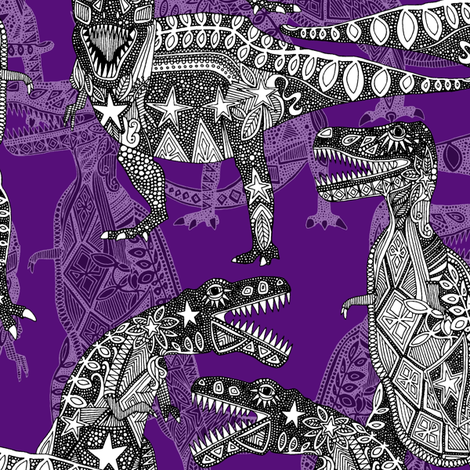 Children of the Late Cretaceous purple fabric by scrummy on Spoonflower - custom fabric