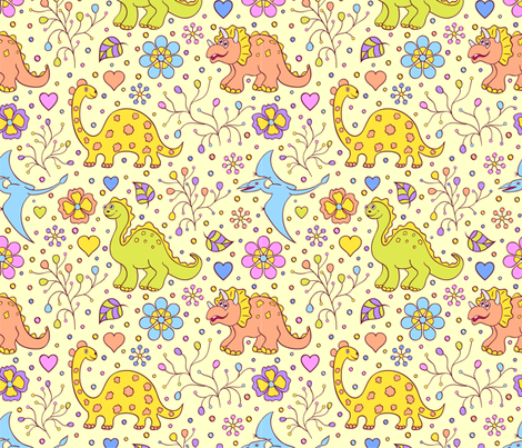 dino fabric by kiyanochka on Spoonflower - custom fabric