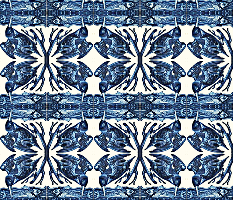Kingfisher Tiles fabric by amyvail on Spoonflower - custom fabric
