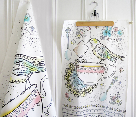 Afternoon Tea Kitchen Towel - Watercolor Bird & Teacup