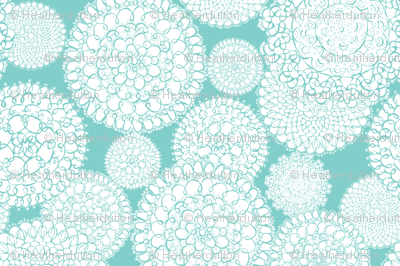 Delightful Doilies Tea Towel - Aqua
