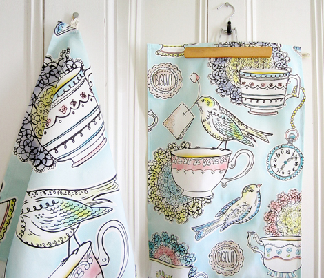 Tea Time Kitchen Towel - Watercolor Birds