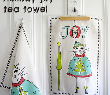 Christmas Joy Cat Tea Towel