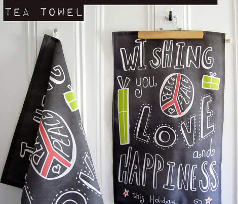 Peace Love And Happiness Chalkboard Tea Towel - Christmas