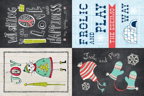 Christmas Tea Towel Set Of 4 Designs fabric by heatherdutton on Spoonflower - custom fabric