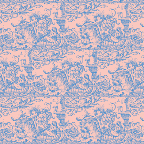 Sea Horses Shell Pink fabric by amyvail on Spoonflower - custom fabric