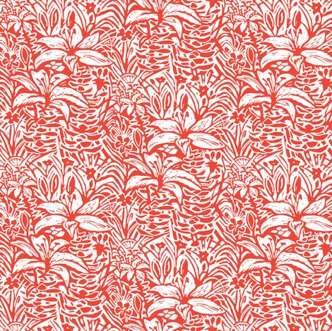 Havana Lilies in Red Orange fabric by femiford on Spoonflower - custom fabric